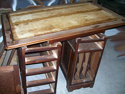 This desk is a family heirloom used in a doctor's home office.