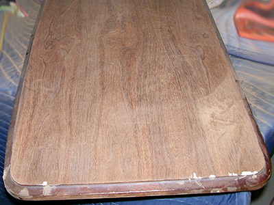 Damage to the bench top finish was extensive.